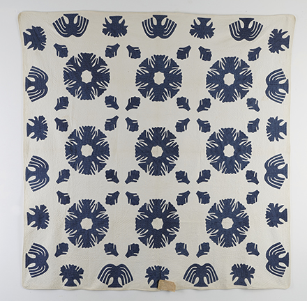Rare Antique Applique 1850s Signed Quilt - Detail