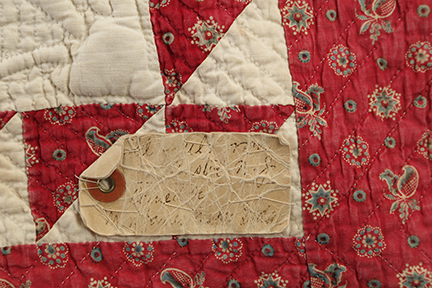 Rare Antique Applique 1840s Signed Quilt - Detail